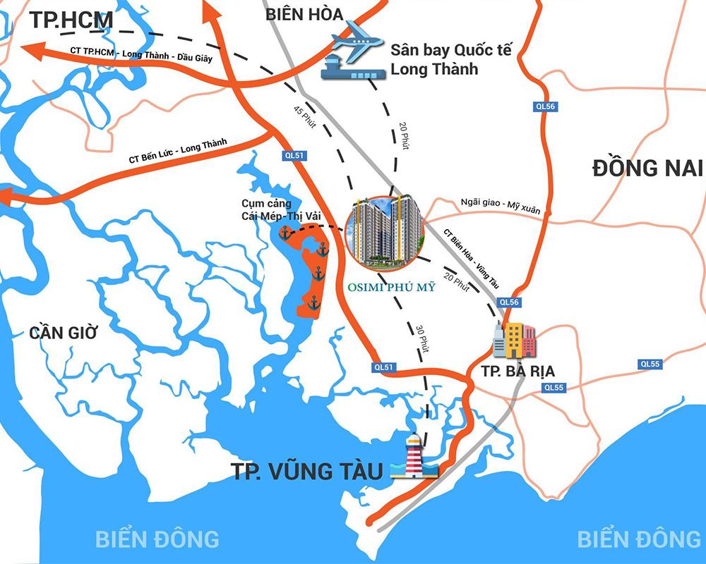 Căn hộ Osimi Phú Mỹ, dự án căn hộ cao cấp tọa lạc tại mặt tiền đường quốc lộ 51, ngay trung tâm thị xã phú mỹ, tỉnh Bà Rịa – Vũng Tàu. Từ dự án Osimi Phú Mỹ, kết nối nhanh chóng đến trung tâm quận thành phố Bà Rịa – Vũng Tàu, Đồng Nai, Tp. Hồ Chí Minh thông qua các tuyên đường giao thông huyết mạch như, QL 51, Ql 56, cao tốc Biên Hòa Vũng Tàu, Cao Tốc Bến Lức – Long Thành, Cao Tốc Tp.HCM – Long Thành – Dầu Giây.