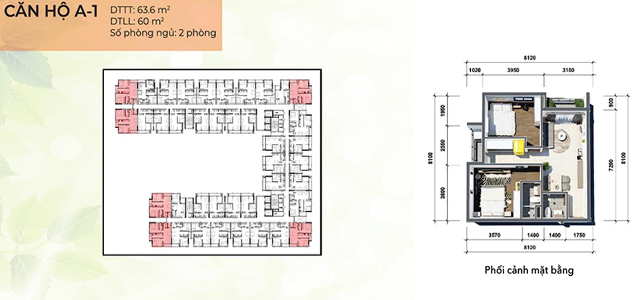 Căn hộ loại A1 dự án Osimi Phú Mỹ, diện tích 63,6 m2 với thiết kế 2 phòng ngủ, 2 phòng vệ sinh, 2 ban công, tổng số 96 căn hộ, từ tầng 2 – 17.