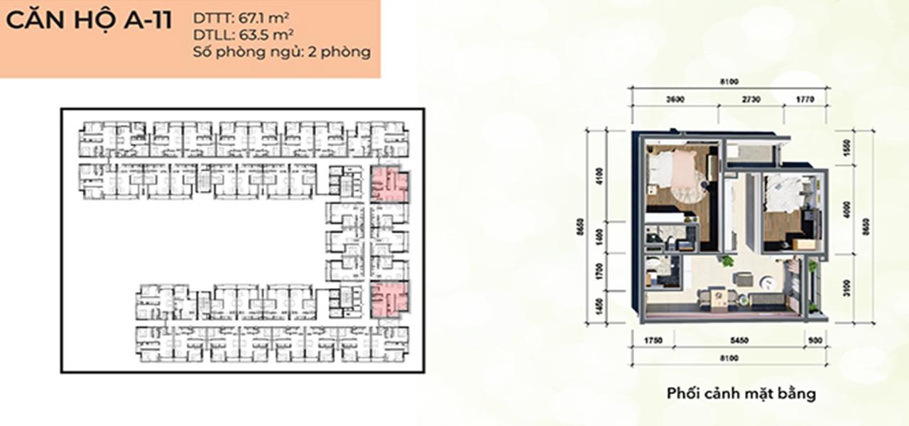 Căn hộ loại A1 dự án Osimi Phú Mỹ, diện tích 67,1 m2 với thiết kế 2 phòng ngủ, 2 phòng vệ sinh, 2 ban công, tổng số 34 căn hộ, từ tầng 4 – 18.