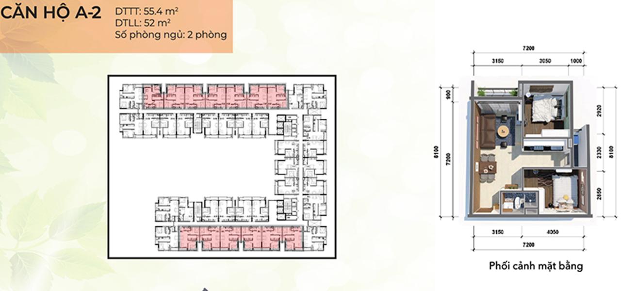 Căn hộ loại A2 dự án Osimi Phú Mỹ, diện tích 55,8 m2 với thiết kế 2 phòng ngủ, 1 phòng vệ sinh, 1 ban công, tổng số 218 căn hộ, từ tầng 2 – 18.