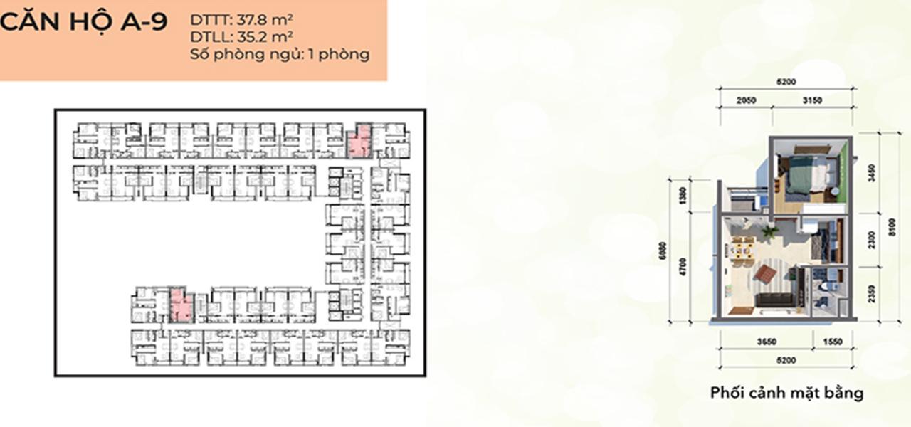 Căn hộ loại A9 dự án Osimi Phú Mỹ, diện tích 37,8 m2 với thiết kế 1 phòng ngủ, 1 phòng vệ sinh, 1 ban công, tổng số 32 căn hộ, từ tầng 2 – 17.
