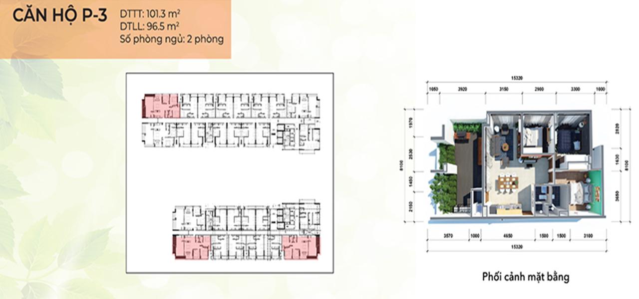 Căn hộ loại P3 dự án Osimi Phú Mỹ, điểm nhấn của dự án với thiết kế căn hộ sân vườn giúp chủ nhân có cảm giác như đang sống trong 1 căn villa ngay trên tầng 18 của dự án. Với số lượng duy nhất 2 căn diện tích 101,3 m2 với thiết kế 2 phòng ngủ, 2 phòng vệ sinh, 1 sân vườn.