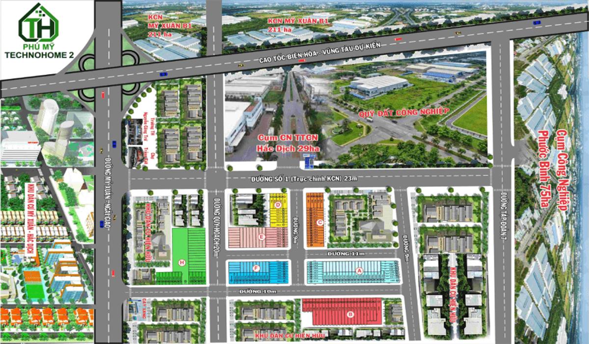 dự án khu dân cư phú mỹ technohome 2 gòm 3 block với tổng 60 sản phẩm từ 110 -331 m2